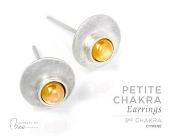 Citrine   Petite Chakra Stud Earrings   3rd Chakra   Yellow   Solar Plexus Chakra   Brushed Satin Fine Silver Gemstone Cabochon Yoga Jewelry