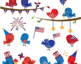 Fourth of July Birds Clipart Clip Art, 4th of July Patriotic Birds Clipart Clip Art Vectors - Commercial and Personal Use
