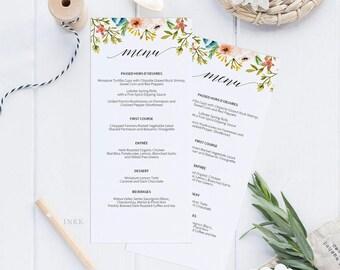 Romantic Printable Wedding Menu Template, Greenery Menu Cards, Menu Template,Editable Menu,Greenery Wedding, Editable Instant Download #E035