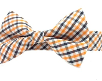 Orange and Black Checkered Gingham Dog Collar Bow Tie Set- Removable Bowtie