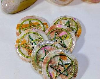 Springtime Pentacle Buttons