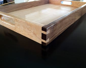 Wood Serving Tray - Curly Maple, Walnut & Fiddleback Maple