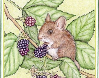 Blackberry Mouse Note Card
