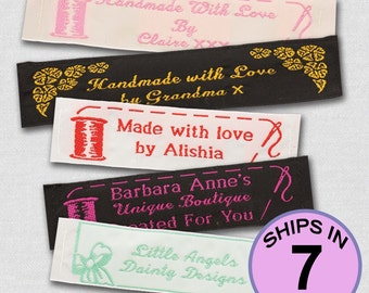 Personalized Woven Labels / 25 / 100% WOVEN  /  Sewing labels / knitting Labels / Crochet labels /Personalized Labels