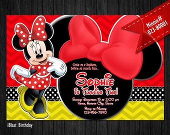 Minnie Birthday Invitation for Minnie Birthday - Red Minnie bow and chevron patterns