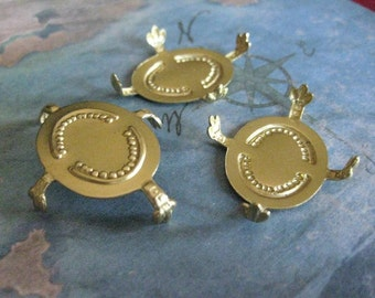 2 PC Brass Pronged Oval  Cameo \/ Turtle Back Setting - 0009V