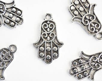 set of 5 charms hand of Fatima 23 x 12 mm Tibetan silver