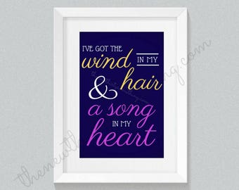 Tangled Rapunzel Quote   Disney Quote   Wind In My Hair Quote   Decor Print