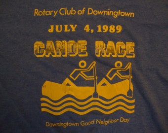 Vintage 80's Rotary Club Of Dowingtown July 4, 1989 Canoe Race Dowingtown Good Neighbor Day Blue T Shirt Size L