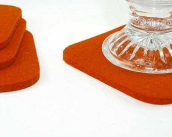 Square Felt Coasters 5MM Thick Virgin Merino Felted Wool Drink Coaster Set Orange Pumpkin Barware