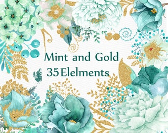 "Gold Mint flowers clipart: ""WATERCOLOR FLOWERS"" Wedding flowers Gold glitter floral Teal flowers Turquoise Flowers DIY wedding Greeting card"