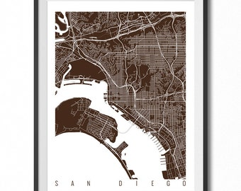 SAN DIEGO Map Art Print / California Poster / San Diego Wall Art Decor / Choose Size and Color