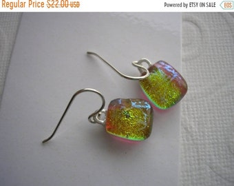 SPRING SALE Earrings Small Drop Golden Shimmer Color Shifting Dichroic Fused Glass Jewelry Lightweight Earrings Petite Sterling Earwires Dan