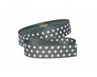 30mm grey strap has stars in cotton from 50 cm