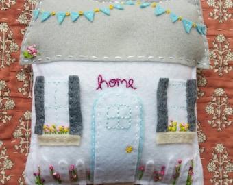 Little Cottage Felt House Pillow