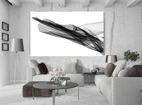 """Abstract Black and White 20-23-07. Contemporary Unique Abstract Wall Decor, Large Contemporary Canvas Art Print up to 72"""" by Irena Orlov"""