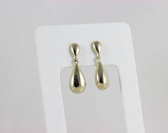 14k Yellow Gold Teardrop Earrings Dangle Drop Earrings