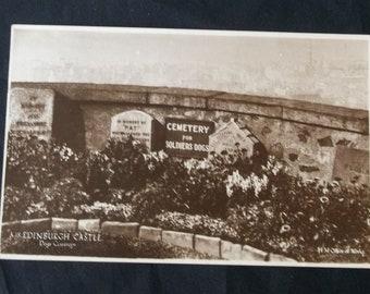 1937 Cemetery Soldiers Dogs Headstones Edinburgh Castle Real Photo Postcard RPPC
