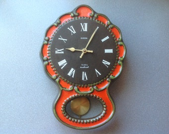 Vintage West German wall clock ceramic retro working