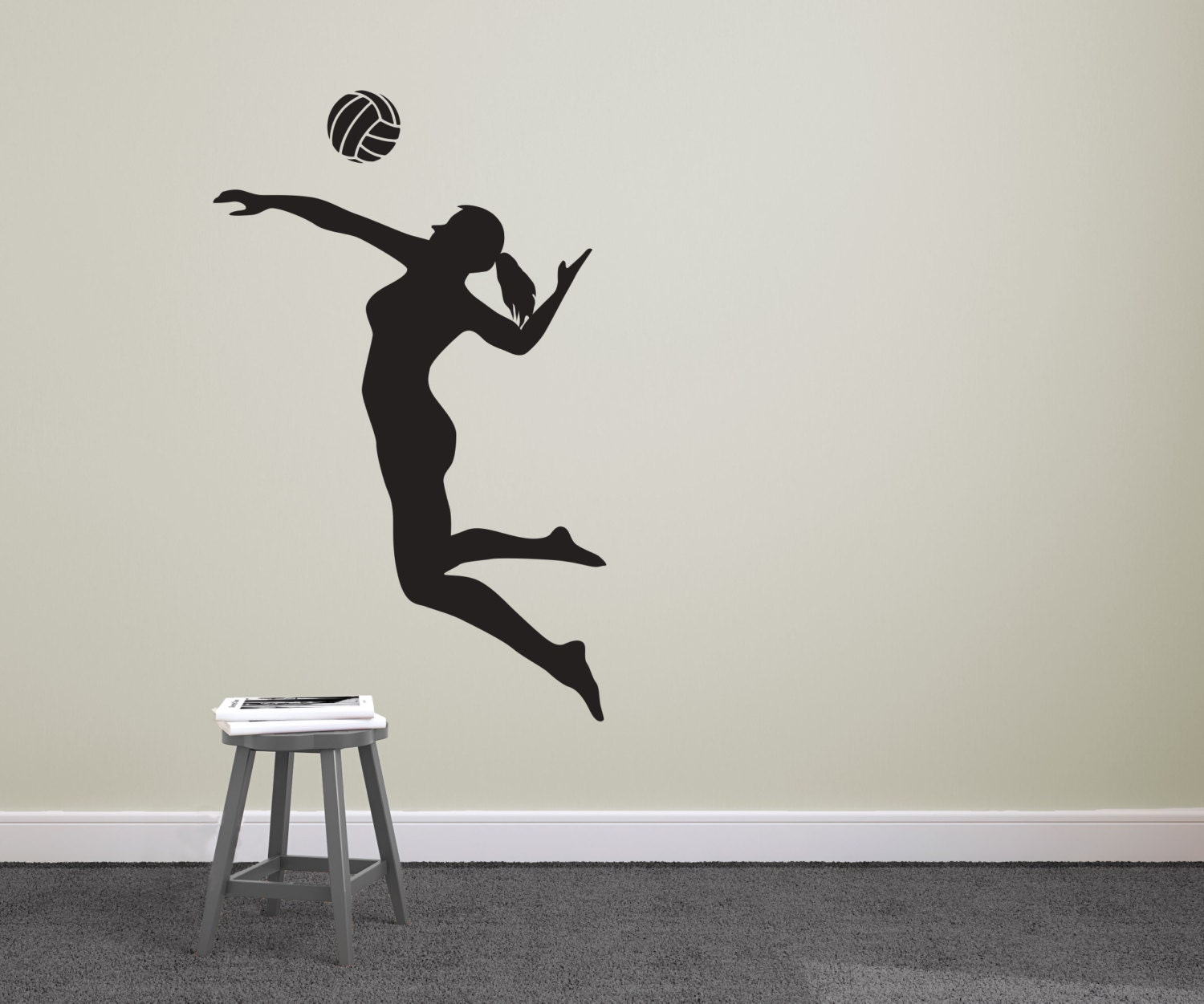 Volleyball Player Spiking Silhouette Sports Wall Decal - Custom vinyl decals barrie