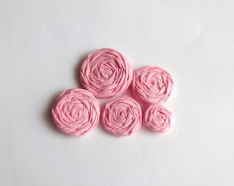Rose Pink Fabric Rosettes Embellishment