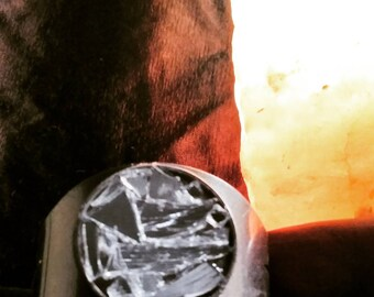 Silver Metal Cuff bracelet with broken mirror and star design