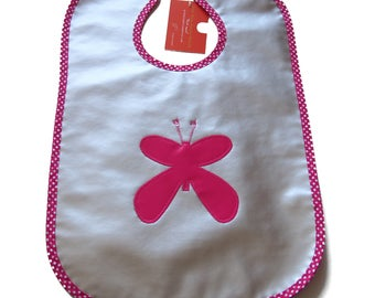 """Large bib made with waterproof waxed canvas lined Terry """"Butterfly"""" - big polka dots"""