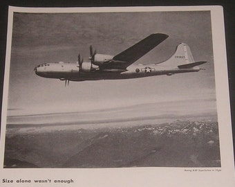 Boeing Aircraft Corporation, Vintage 1944 Print Ad, WWII B-29 Superfortress Photo, Military Aviation