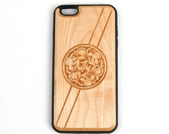 Carved Natural Wood Mobile Phone Case - Arabesque