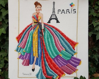 Pretty Paris -Haute Couture 1950s Fashion Style Counted Cross Stitch Chart Pattern Instant Download