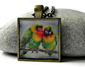 "LOVEBIRDS PRINT Necklace Pendant Antique Bronze Square 25 mm with 24"" Rolo Chain"