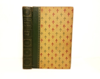 Hollow Book Safe Moby Dick and Two Years Before The Mast Cloth Bound vintage Secret Compartment Security hiding place