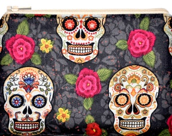 Sugar Skulls Day of the Dead Autumn Zipper Pouch Coin Purse ID Holder Wallet Gift Idea