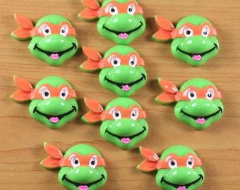 Wholesale Lot 10pcs Orange Turtle Resin Cabochons Flatback Scrapbooking Hair Bow Center Frame Boy Photo Making Crafts Embellishments DIY