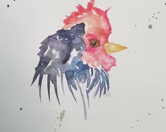 Original 9 x 12 in watercolor rooster painting