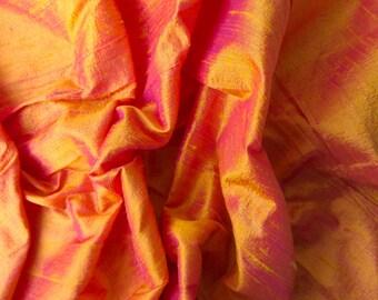 Orange raw silk wedding bridal peace shantung silk fabric number 756  - per yard or meter
