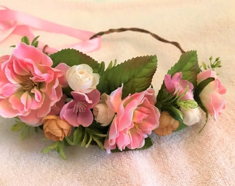 Beautiful Bright Half Crown With Pink Flowers, Light Brown and Ivory Roses, Green Leaves, And A Pink Ribbon