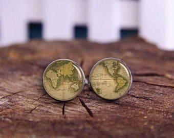 World Map Cuff Links, Vintage World Map, Groomsmen Gfits, Father's Gift, Custom Intercontinental Map Cuff Links, Custom Map Cuff Links