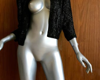 Women's vintage cropped sequin jacket