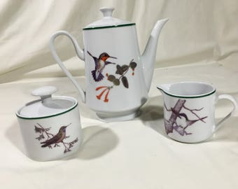 NATIONAL WILDLIFE FEDERATION Hummingbirds Coffee Pot Creamer & Sugar Bowl (Free Shipping)