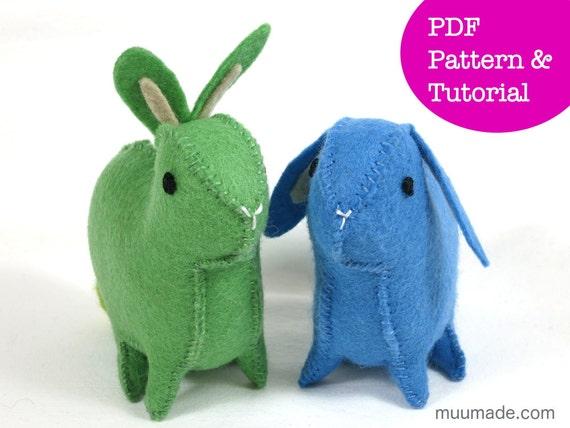 Felt Rabbit Pattern, Bunny Sewing Pattern, Felt animal pattern ...