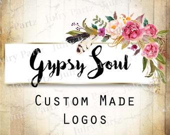 LOGO in lila Posie GYPSY Soul•Premade Logo•Jewelry Karte Logo•Flower Logo•Custom Logo•Shop Logo