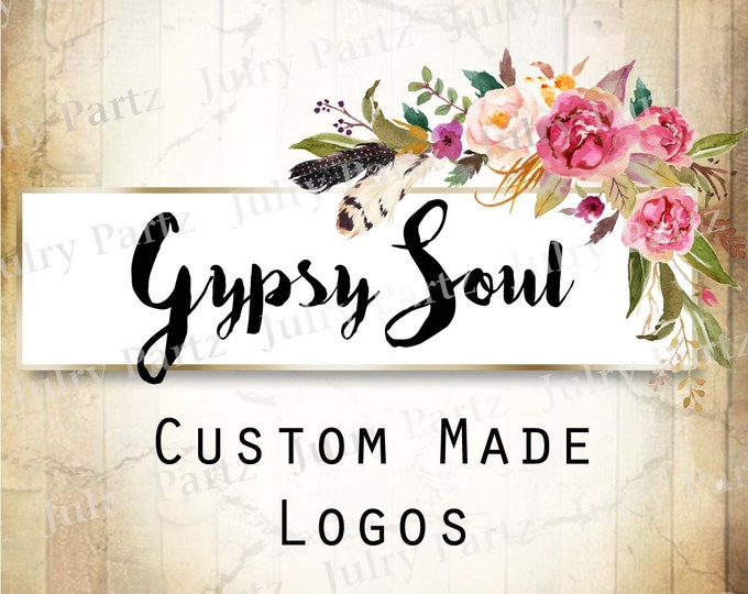 LOGO in Purple Posie GYPSY Soul•Premade Logo•Jewelry Card Logo•Flower Logo•Custom Logo•Shop Logo