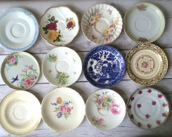 Set of 12 Vintage Mismatched China Plates - Tea Party - Saucers - Dessert Plates - Alice Wonderland - Cottage Decor - Wall Plate Collection