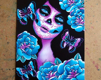 Sugar Skull Girl Signed Art Print - Memento Art Print  - 5x7, 8x10, or 11x14 - Day of the Dead Sugar Skull Girl Tattoo Flash