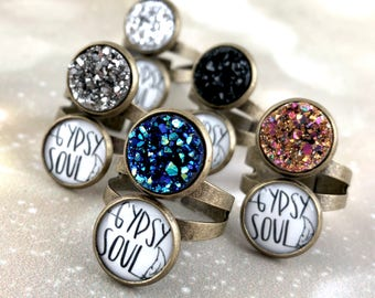 Gypsy Ring - Adjustable Boho Ring - Double Druzy Ring - Glitter Jewelry - Womens Ring Size 4 5 6 7 8 9 10 - Gypsy Soul Jewelry Gift For Her