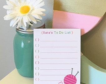 Personalized Knitting To Do List - Knitting Notepad - To Do List - Knitting - Yarn - Needles - Sewing
