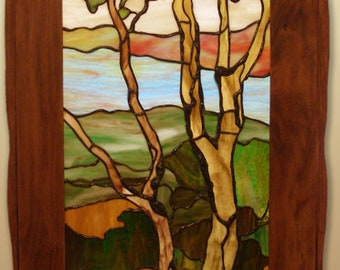 Art & Crafts stained glass panel, framed