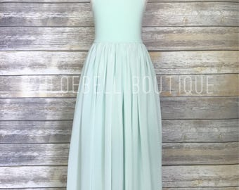 Mint Floor length flower girl dress- Mint chiffon dress - Mint flower girl dress - Toddler mint dress - Special Occasion - Beach wedding