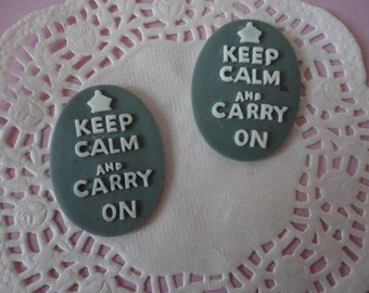 Keep calm and carry on cameo in Blue Gray      2 pcs--USA seller